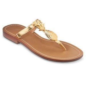 Lilly Pulitzer For Target Pineapple Gold Sandals 7
