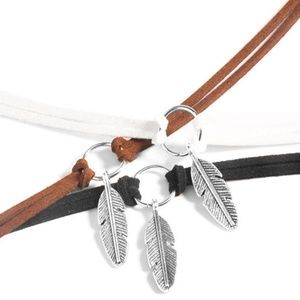 Jewelry - 5 for $25--Leather & Silver Leaf Adjustable Choker