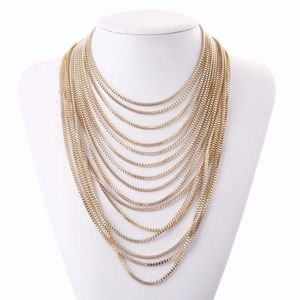 Multi multi layered gold color necklace