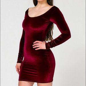 American Apparel Red Velvet Long Sleeve Dress