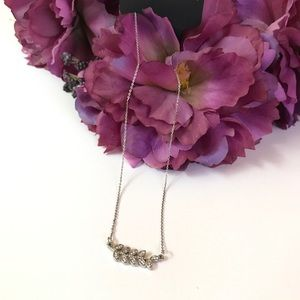 Sliver and crystals leaves necklace