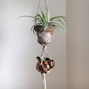Other - Double tiered macramé plant hanger.