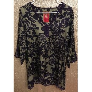 Johnny Was 100% Silk Floral Lace Trim Tunic Sz S