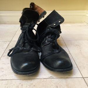 John Varvatos Harden Lace Boot In Mineral Black