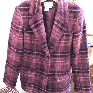 Chadwick's Wool Blazer. Purple plaid! Sz4. Nice!