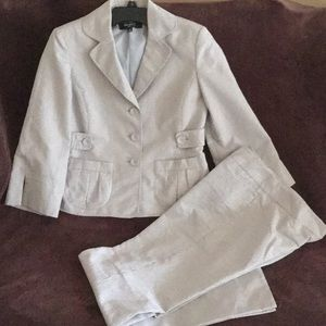 Nine West Gray/White Stripe Pant Suit