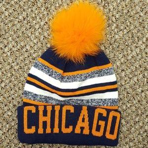 Chicago Knit Hat with Fox Fur Pom