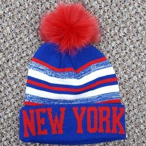New York Knit Hat with Fox Fur Pom