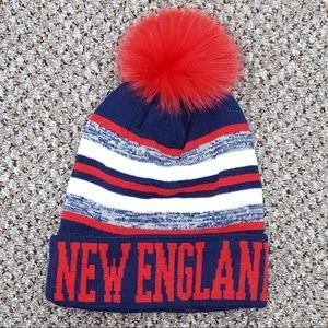 New England Knit Hat with Fox Fur Pom