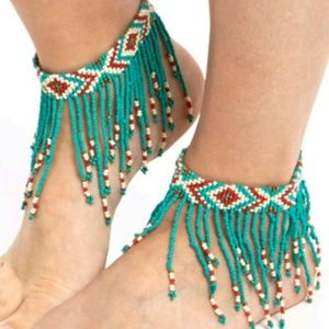 BOHEMIAN FRINGE BEADED ANKLETS (2 anklets)