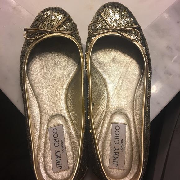 41005f619cd Jimmy Choo Shoes - Jimmy Choo gold sequin ballet flats size 37