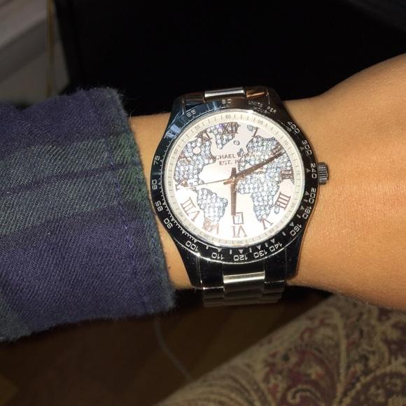 World Map Watch Michael Kors.Michael Kors Accessories Micheal Kors World Map Silver Watch Rose