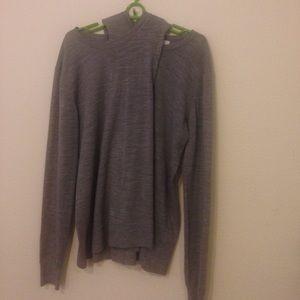 Alexander Wang overlay heather gray sweater XS