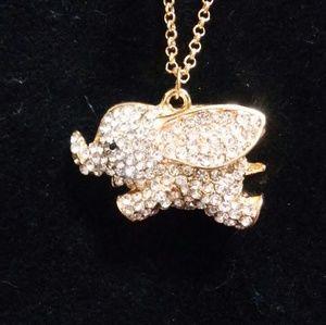 Elephant Rhinestone Necklace