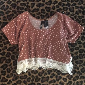 O'Neill Pac Sun lace polka dot crop top. NWOT