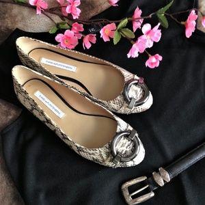 Diane Von Furstenberg Python Embossed Leather Flat