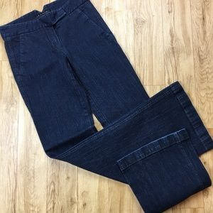 Theory dark blue wash wide legged trouser jeans