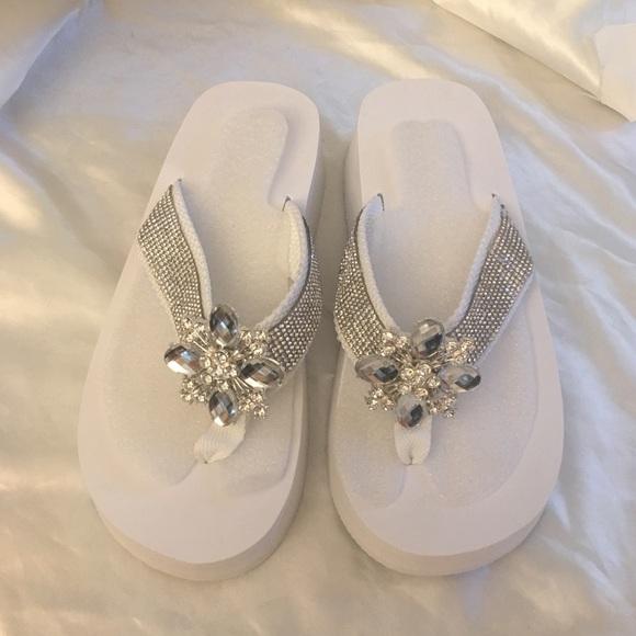611f11349 White Bling Bridal Wedding Flip Flops