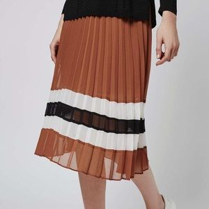 Topshop Striped Hem Pleated Chiffon Midi Skirt