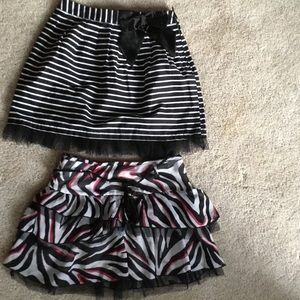 Sz S M Black and white striped skirts tulle trim
