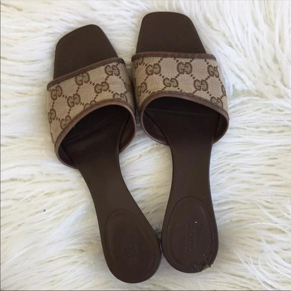 daec71a6c Gucci Shoes | Sold Monogram Canvas Sandals | Poshmark