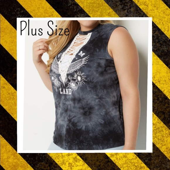 Plus Gray Tie Dye Freedom Lace Up Tank Top c3effd638