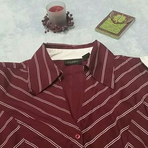 At Last burgundy long sleeve button-up size M