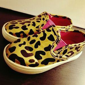 Gold Cheetah slip- on shoes