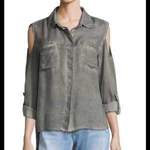 Military Style Well Worn Look Cold Shoulder Blouse