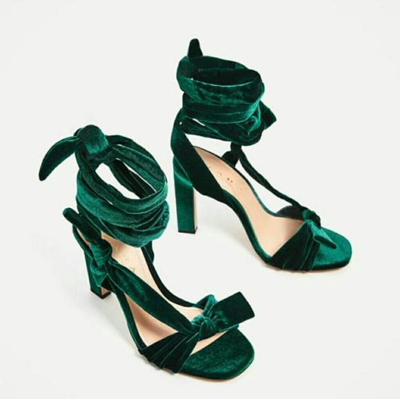 Zara Shoes   Zara Emerald Velvet Lace