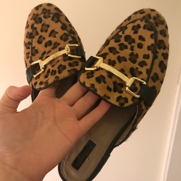 Topshop Leopard Backless Loafersmules
