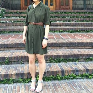 Uniqlo Olive Green Shirtdress