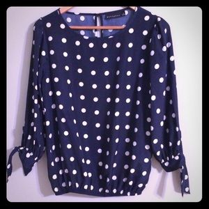 Metaphor Navy and White Polka Dot Blouse Small