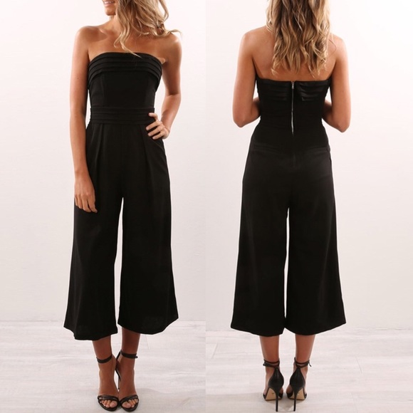 683be97689ef Strapless Cropped Wide Leg Jumpsuit Black