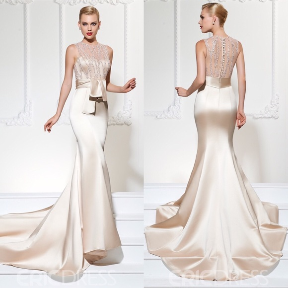 8f5530710441 Eric Dress Dresses | Champagne Beaded Mermaid Evening Dress Wtrain ...