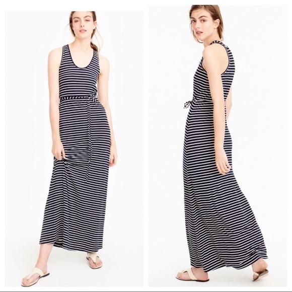 213b0ea8bdc •J.Crew• Tie Waist Stripe Maxi Dress