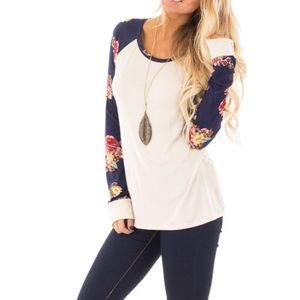 Boutique Floral Sleeve Top