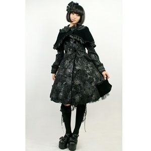 🖤Gorgeous Gothic Lolita Coat Dress Velvet Capelet