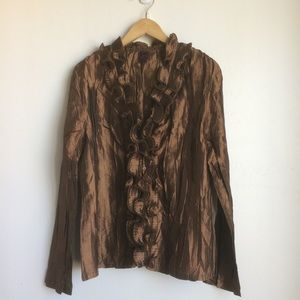 [colorworks] Ruffled Brown Crinkle Fabric Blouse