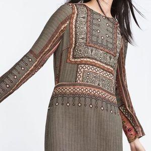 6b9d0c63 Zara printed moroccan printed it BoHo hippie dress