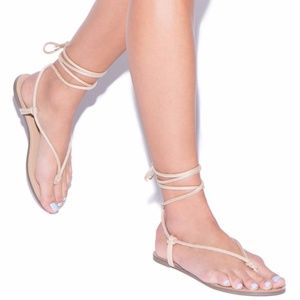 Nude Lace-Up Style Sandal