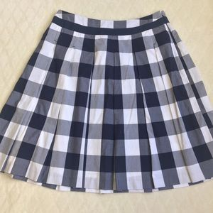 Boden Blue White Plaid A Lined Pleated Full Skirt