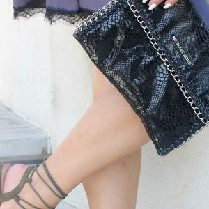 Michael Kors Bags - Michael Kors Black Reptile Print Clutch!