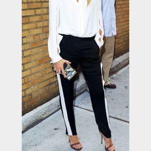 Pants - Black pants with white stripe down side