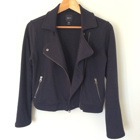GAP Jackets & Blazers - ❌ Gap Blue Sweatshirt Moto Jacket