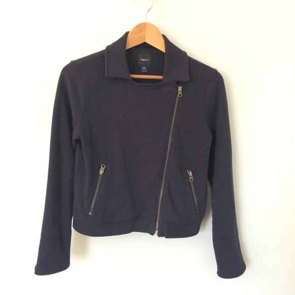 GAP Jackets & Coats - Gap Blue Sweatshirt Moto Jacket