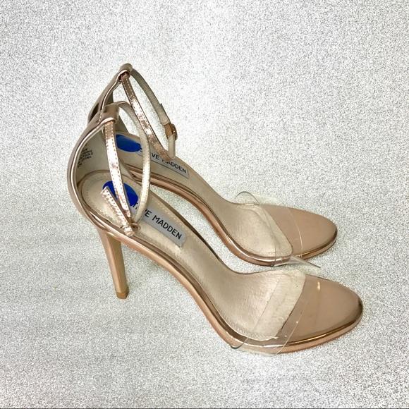 2abbd6a327b Steve Madden Stecy rose gold Clear heels. M 59b222194e95a31c4f01e8bc