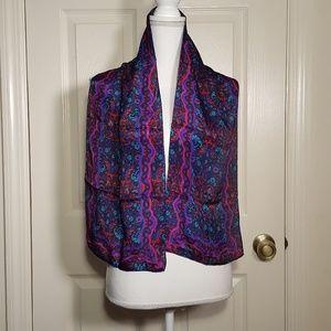 Vintage Liz Claiborne Fuschia & Purple Silk Scarf