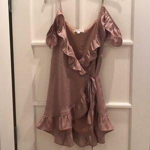Great pink wrap dress off the shoulder
