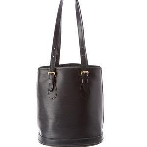 Authentic Louis Vuitton Black Epi Leather Bucket